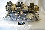 Aluminum Tri Power Intake Manifold and Carburetors BEFORE Chrome-Like Metal Polishing - Aluminum Polishing