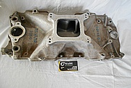 Weiand V8 Engine Aluminum Intake Manifold BEFORE Chrome-Like Metal Polishing and Buffing Services - Aluminum Polishing