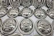 Stainless Steel Breather Lids AFTER Chrome-Like Metal Polishing and Buffing Services - Stainless Steel Polishing Services