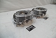 1967 Harley Davidson Aluminum Cylinder Heads AFTER Chrome-Like Metal Polishing and Buffing Services / Restoration Services
