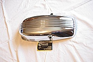 BMW Aluminum Motorcycle Cover BEFORE Chrome-Like Metal Polishing and Buffing Services plus Clearcoating Services