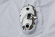 Triumph Motorcycle Aluminum Cover Piece AFTER Chrome-Like Metal Polishing and Buffing Services