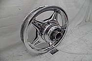 Aluminum Motorcycle Wheel AFTER Chrome-Like Metal Polishing - Aluminum Polishing Services