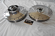 Aluminum Motorcycle Front and Rear Brake Hubs AFTER Chrome-Like Metal Polishing - Aluminum Polishing Services