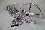 Harley Davidson Rocker Custom Aluminum Motorcycle Wheels and Drive Pulley AFTER Chrome-Like Metal Polishing - Aluminum Polishing Services