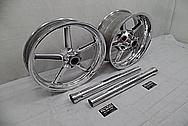 Aluminum Motorcycle Wheels AFTER Chrome-Like Metal Polishing - Aluminum Polishing Services