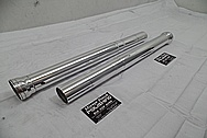 Aluminum Motorcycle Front Lower Fork Tubes AFTER Chrome-Like Metal Polishing - Aluminum Polishing Services