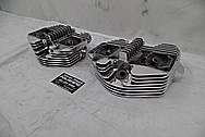 1969 Harley Davidson Pan Shovelhead Limited Edition Motorcycle Aluminum Cylinder Heads AFTER Chrome-Like Metal Polishing - Aluminum Polishing Services