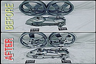 BEFORE AND AFTER Chrome-Like Metal Polishing and Buffing Services / Restoration Services - Motorcycle Aluminum Polishing