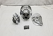 1970's Aluminum Motorcycle Hubs and Brake Parts AFTER Chrome-Like Metal Polishing - Aluminum Polishing Services