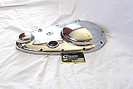 1949 Indian Scout Motorcycle Aluminum Primary Cover AFTER Chrome-Like Metal Polishing and Buffing Services