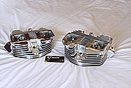 Harley Davidson Panhead Aluminum Motorcycle Engine Cylinder Heads AFTER Chrome-Like Metal Polishing and Buffing Services Plus Custom Painting Services