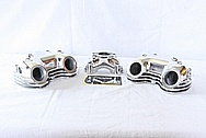 Triumph Motorcycle Aluminum Rocker Box Covers and Single Carb Manifold AFTER Chrome-Like Metal Polishing and Buffing Services