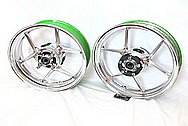 Aluminum Kawasaki Motorcycle Wheels AFTER Chrome-Like Metal Polishing and Buffing Services / Restoration Services