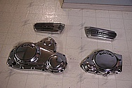 Suzuki Motorcycle Aluminum Cover Pieces AFTER Chrome-Like Metal Polishing and Buffing Services