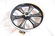 2011 Victory Crossroads Motorcycle Aluminum Wheel BEFORE Chrome-Like Metal Polishing and Buffing Services