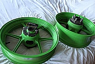 Aluminum Kawasaki Motorcycle Wheels BEFORE Chrome-Like Metal Polishing and Buffing Services / Restoration Services