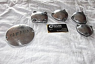 Yamaha XS650 Aluminum Motorcycle Engine Cover Pieces BEFORE Chrome-Like Metal Polishing and Buffing Services / Restoration Services