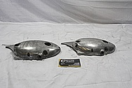 Triumph Aluminum Motorcycle Engine Cover Piece BEFORE Chrome-Like Metal Polishing and Buffing Services / Restoration Services