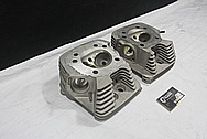 Harley Davidson Shovelhead Aluminum Cylinder Heads BEFORE Chrome-Like Metal Polishing and Buffing Services / Restoration Service