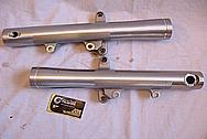 2005 1700cc Yamaha Roadstar Aluminum Forks BEFORE Chrome-Like Metal Polishing and Buffing Services