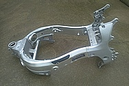 2006 Suzuki Hayabusa Aluminum Motorcycle Frame BEFORE Chrome-Like Metal Polishing and Buffing Services