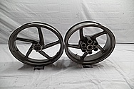 Aluminum 5 Blade Motorcycle Wheel BEFORE Chrome-Like Metal Polishing