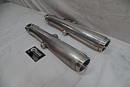 1974 Harley Davidson FLH Aluminum Front Fork Sliders BEFORE Chrome-Like Metal Polishing and Buffing Services - Aluminum Polishing