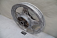 Aluminum Motorcycle Wheel BEFORE Chrome-Like Metal Polishing - Aluminum Polishing Services