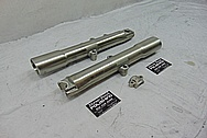Harley Davidson Motorcycle Aluminum Lower Forks BEFORE Chrome-Like Metal Polishing and Buffing Services / Restoration Services - Motorcycle Aluminum Polishing