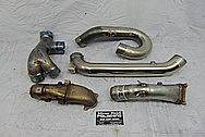 Akrapovic Panigale Motorcycle Titanium Header BEFORE Chrome-Like Metal Polishing and Buffing Services / Restoration Services - Motorcycle Titanium Polishing