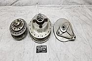 1970's Aluminum Motorcycle Hubs and Brake Parts BEFORE Chrome-Like Metal Polishing - Aluminum Polishing Services