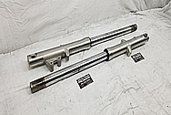 Motorcycle Aluminum Lower Forks BEFORE Chrome-Like Metal Polishing and Buffing Services / Restoration Services - Aluminum Polishing