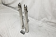 Aluminum Motorcycle Front Forks and Engine Cover Piece BEFORE Chrome-Like Metal Polishing and Buffing Services / Restoration Services - Aluminum Polishing