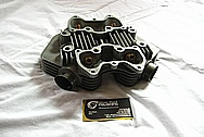Triumph 650 Motorcycle Aluminum Cylinder Head BEFORE Chrome-Like Metal Polishing and Buffing Services Plus Custom Cutting Services