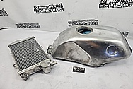 Aluminum Motorcylce Gas Tank BEFORE Chrome-Like Metal Polishing - Aluminum Polishing