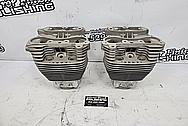 Harley Davidson Aluminum Cylinder Heads BEFORE Chrome-Like Metal Polishing and Buffing Services / Restoration Services - Aluminum Polishing