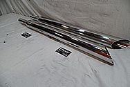 Triumph Motorcycle Stainless Steel Exhaust Pipes BEFORE Chrome-Like Metal Polishing - Aluminum Polishing
