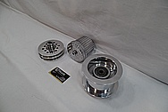 Aluminum V8 Engine Supercharger Pulleys AFTER Chrome-Like Metal Polishing and Buffing Services / Restoration Services