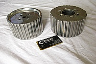 Aluminum Supercharger / Blower Pulleys BEFORE Chrome-Like Metal Polishing and Buffing Services