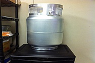 Aluminum Forklift Propane Tank BEFORE Chrome-Like Metal Polishing and Buffing Services / Restoration Services