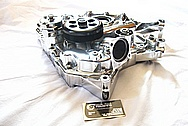 Dodge Challenger 6.1L Hemi Engine Aluminum Timing Cover AFTER Chrome-Like Metal Polishing and Buffing Services