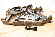 Dodge Challenger 6.1L Hemi Engine Aluminum Timing Cover BEFORE Chrome-Like Metal Polishing and Buffing Services