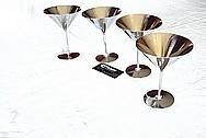 Titanium Metal Martini Glasses AFTER Chrome-Like Metal Polishing and Buffing Services