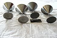 Titanium Metal Martini Glasses BEFORE Chrome-Like Metal Polishing and Buffing Services