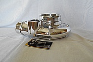 Borg Warner Aluminum Turbocharger Compressor Housing AFTER Chrome-Like Metal Polishing and Buffing Services - Aluminum Polishing