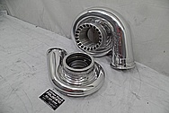 TWO Precision Turbo Aluminum Turbo Housings AFTER Chrome-Like Metal Polishing - Aluminum Polishing