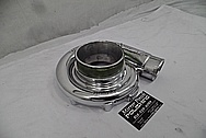 On 3 Performance Aluminum Turbo Housing AFTER Chrome-Like Metal Polishing and Buffing Services - Aluminum Polishing