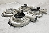 (4) 6,000 Horsepower PRI Show Aluminum Cast Turbo Housings BEFORE Chrome-Like Metal Polishing and Buffing Services - Aluminum Polishing