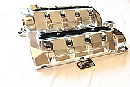 Chevy Corvette Aluminum Valve Covers BEFORE Chrome-Like Metal Polishing and Buffing Services Plus Custom Painting Services
